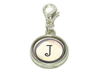 Letter J Typewriter Key  Dangling Bracelet Pendant Charm