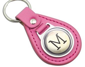 Letter M Typewriter Key  Pink Leather Metal Keychain Key Ring