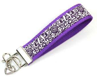 PURPLE SWIRL Fabric Key chain, Purple Key fob, Purple Wristlet, Purple keychain