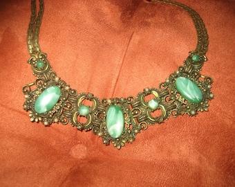 Antique Ornate Jade Choker