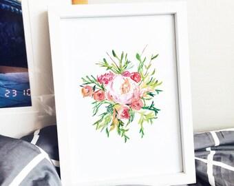 Pink Rose Branch Poster Print
