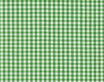 "Green Gingham, 1/8"" Kelly Green and white checked fabric, Robert Kaufman Fabric, 100% cotton fabric"