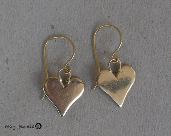 Heart earrings gold 14k gold love gift birthday dangle