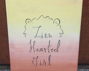 lion hearted girl canvas