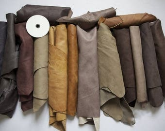 30kg Beautifull Leather Italian Scrap/Off Cuts/Pieces Mix Colour