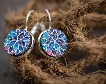 20% OFF SUMMER SALE Flower earrings, painted wood earrings, boho jewelry, tribal earrings, Indie earrings, textured wood earring, ethnic ear