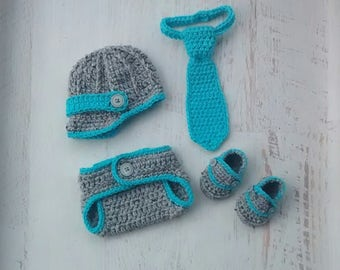 Newborn Baby Boy Newsboy Hat Diaper Cover Tie Loafers Shoes Set Photography Prop