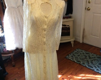 Vintage Boulevard De Paris Ivory Lace Dress Size 11