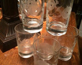 Five Vintage Crystal Etched Roses Juice Glasses