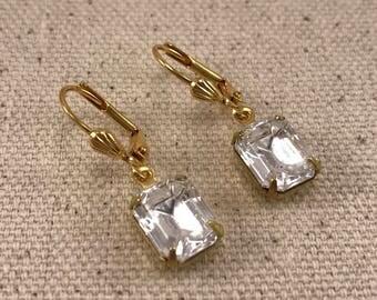 Crystal Gold Earrings Vintage Glass Swarovski