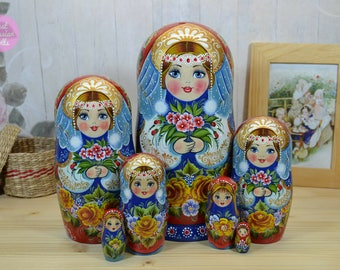 Hand painted matryoshka, Russian nesting doll, Original artwork, Hand made wooden babushka, Gift for woman, Traditonal folk art