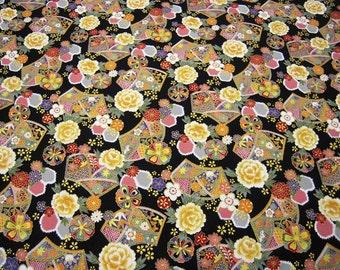 Japanese fabric Gold glazing Black