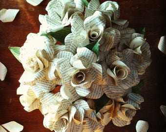 Literary Paper Roses - Jane Eyre by Charlotte Brontë - Medium Bunch of 6 or Large Bunch of 12