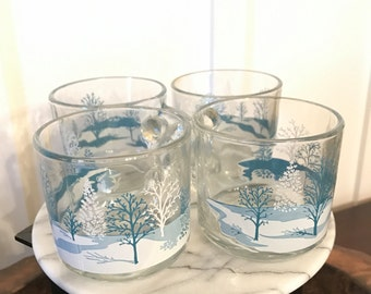 Vintage Anchor Hocking Clear Glass Mugs White and Blue Winter Wonderland Scene with Trees | Set of 4