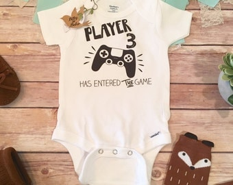 Player 3 Has Entered The Game Onesie®, Pregnancy Reveal Onesie, Funny Baby Gift, Newborn Boy, Baby Shower, Video Game Pregnancy Announcement
