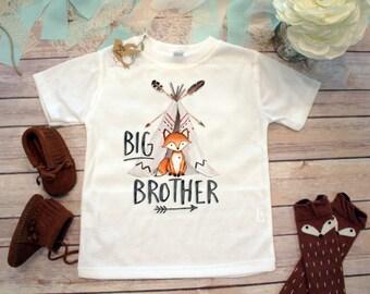 Big Brother Shirt, Brother Fox Shirt, Hipster Baby Clothes, Boho Baby Clothes, Big Brother Little Brother, Toddler Fox Shirt, Teepee, Family
