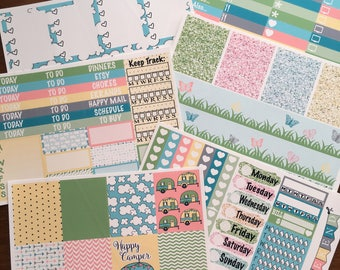 Happy Camper ECLP Happy Planner Inkwell Press Weekly Kit Stickers Check Lists Daily Boxes Washi Strips