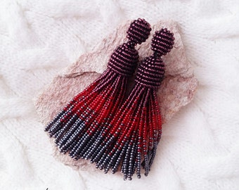 Beaded tassel earrings, Beaded earrings, Purple-red-gray earrings, Oscar de la renta earrings, Long earrings, Stud earrings