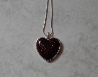 Brown Sparkle Resin Heart Necklace