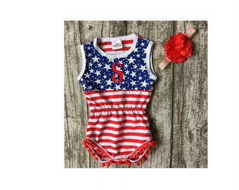 Boutique Girls / Baby 4th of July Stars Stripes Pom Pom Romper 2 piece add name