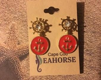 Anchor,Helm,Coastal,Earrings,Sea,Nautical,Jewelry