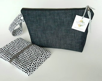 Diaper clutch, diaper changing pad, small diaper bag, travel changing pad, diapers and wipes case, nappy wallet, Daddy diaper bag, denim bag