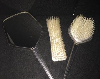 Petite brosse vtement vintage/ Brosse en bois et laiton