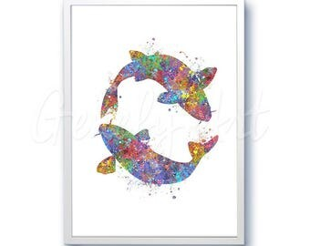 Koi Fish Watercolor Art Print  - Watercolor Painting - Sea Life Watercolor Art Painting - Home Decor - House Warming Gift