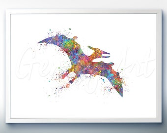 Dinosaur Pteranodon Pterosaur Watercolor Art Print - Dinosaur Watercolor Art Painting - House Warming Gift