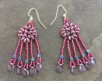Purple fuschia superduo woven dangle earrings