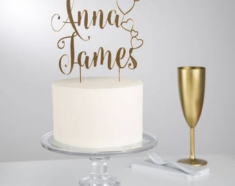 Personalised Couples Hearts Cake Topper