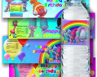 Trolls Inspired Water Bottle Label Trolls Bottle Label Trolls Water Bottle Label Trolls Birthday Party Trolls Party Supplies Trolls Label
