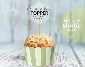 Cupcake Topper Mock up, Cupcake Tags Mock up, Cupcake Photography Mock , Cupcake Designs Mock up, Party Topper Mock (New.CupcakeGreen)
