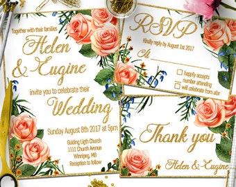 Gold wedding invitation set, Printable wedding invitation gold, Wedding stationery set, Gold invitations,  Elegant gold and white