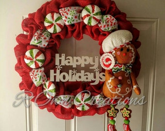 Burlap Ginger Bread Man BreadmanWreath