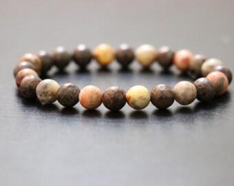 Brown snowflake jasper 8mm, Crazy Lace Agate 8mm, beaded bracelet, Men's jewelery,Gift,Gemestone bracelet, Women's bracelet, yoga bracelet