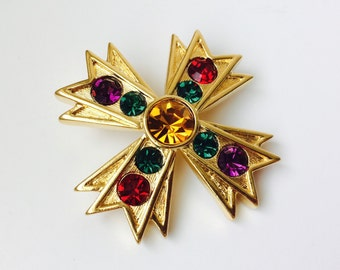 Vintage Napier Maltese Cross With Colored Rhinestones Brooch/Maltese Cross Brooch/Napier Brooch/Colored Rhinestone Brooch/Vintage Jewelry