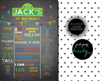 Sesame Street Birthday Chalkboard Poster   Custom Printable Digital File   18 x 24