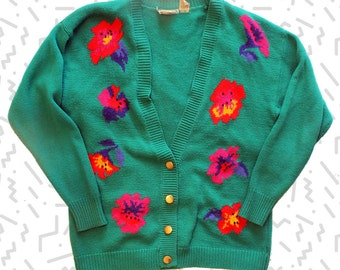 Teal Cardigan with Flowers and Gold Buttons
