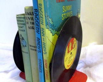 Bookends, Vintage Record Book Ends, Vinyl Record , 45 Record, Childrens' Records, Record Gift, Book Lover Gift