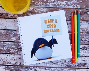 Penguin Personalised Notebook Children's Girl's Boy's Gift Idea Various Sizes