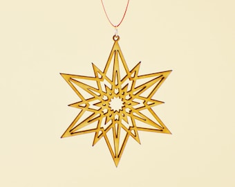 Laser Cut Wood Snowflake Ornament - Design #11 - 50% off