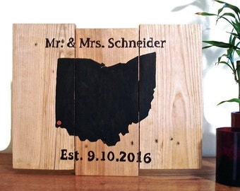wedding map art, personalized wedding sign, custom wedding map, gift, custom wedding sign, custom wedding state