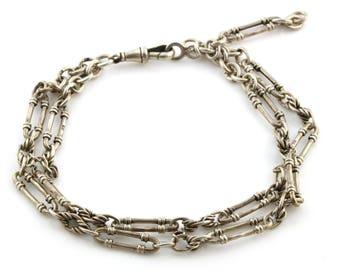 Antique Sterling Silver Fancy Figaro Charm Bracelet - Circa 1860, Victorian Silver Bracelet, Antique Silver Charm Bracelet