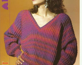 Ladies V Neck Raglan Sweater Knitting Pattern.