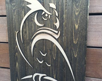 Wood Bird Wall Art - Great Horned Owl