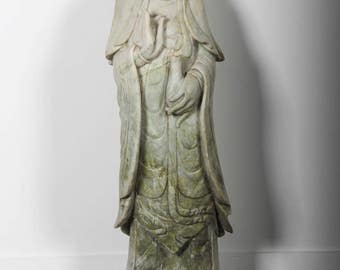 """Carved Marble Stone 36"""" Quan Yin Statue"""