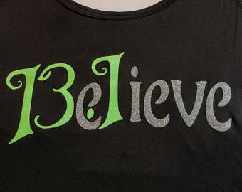 BELIEVE 13.1 - Tinker Bell Half Marathon inspired wicking running tank / tee with choose your glitter colors!