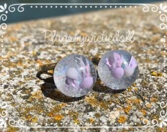 Ring globe jellyfish pastels and iridescent glitter