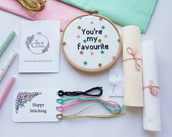 Modern Cross Stitch Kit - You're My Favourite - Funny Cross Stitch - Cross Stitch Kit - Cross Stitch - Needlepoint Kit - Valentine Gift